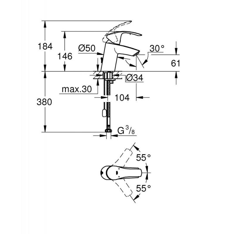 grifo lavabo monomando grohe eurosmart 33188002. Black Bedroom Furniture Sets. Home Design Ideas