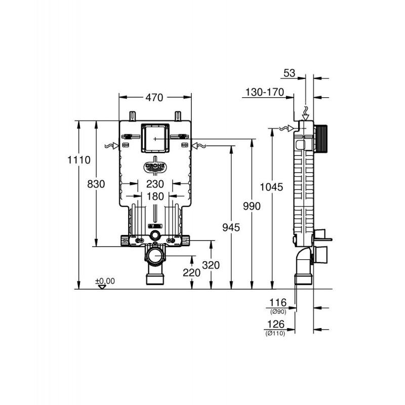 Cisterna empotrada para wc uniset grohe 38643001 - Cisterna empotrada ...