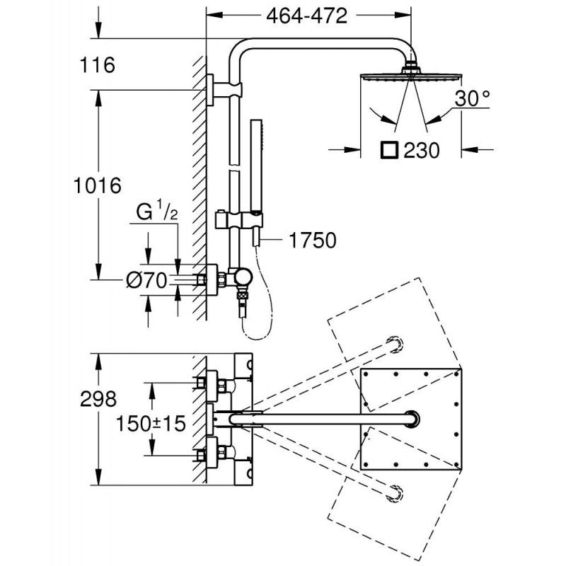 Conjunto ducha termostatica euphoria xxl 230 grohe 26187000 for Ducha termostatica grohe