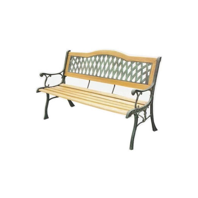 Banco exterior de forja y madera tropical - Mobiliario de forja ...
