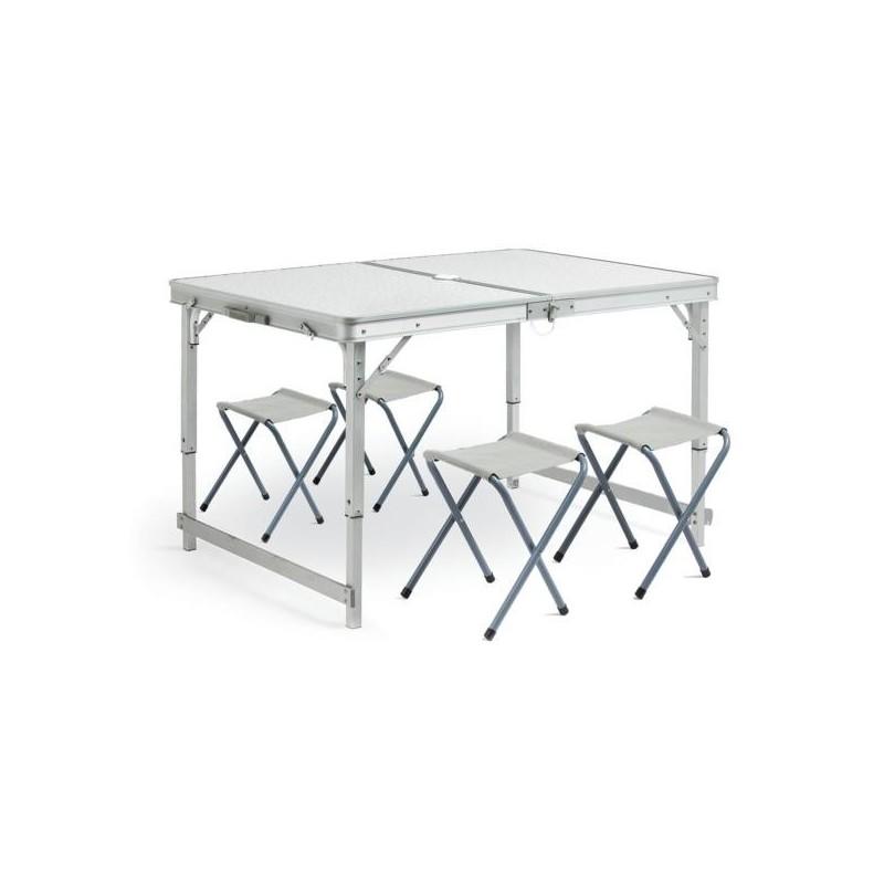 mesa camping plegable aluminio 4 taburetes