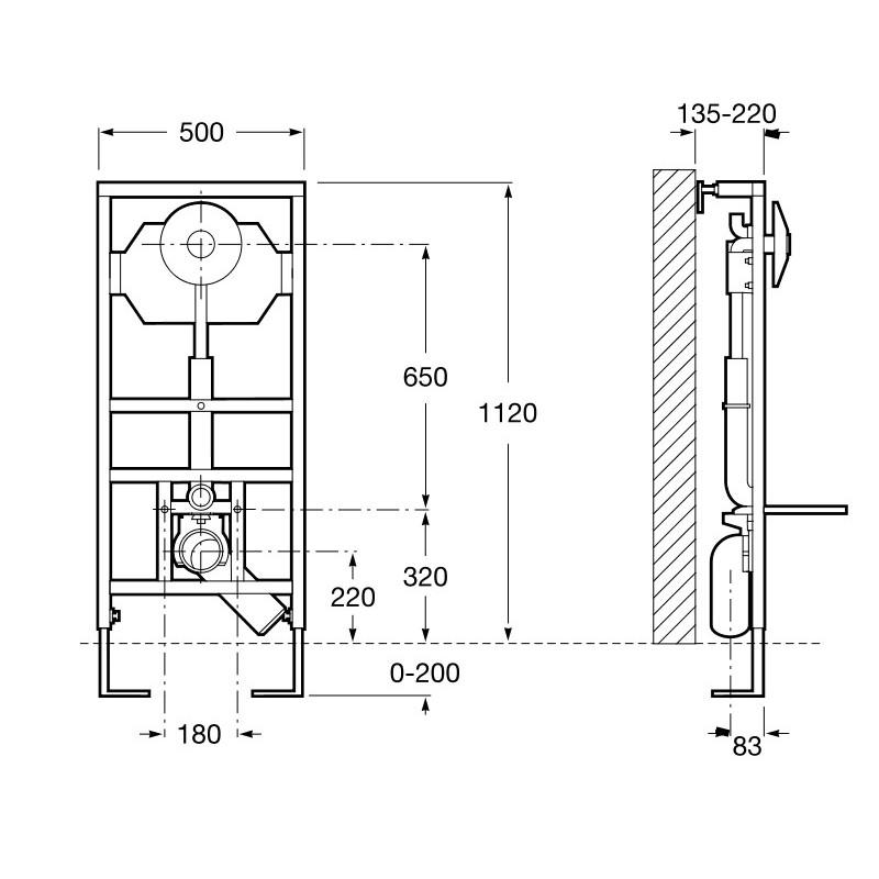 Estructura empotrable roca duplo wc fluxor descarga dual - Instalacion inodoro suspendido ...