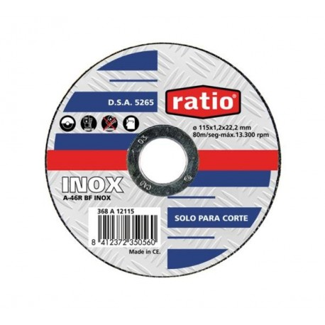 DISCO CORTE INOX/METAL RATIO 115X1,2X22,2mm