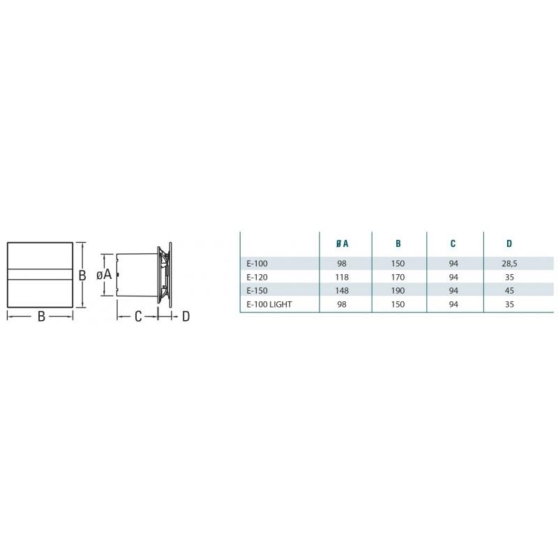 Extractor ba o cata glass timer hygro e100gth blanco - Extractor bano silencioso ...
