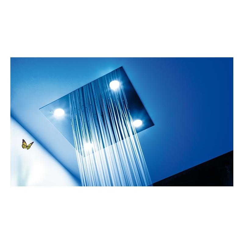Rociador ducha techo cromoterapia con luz inox tres for Rociadores ducha empotrados techo