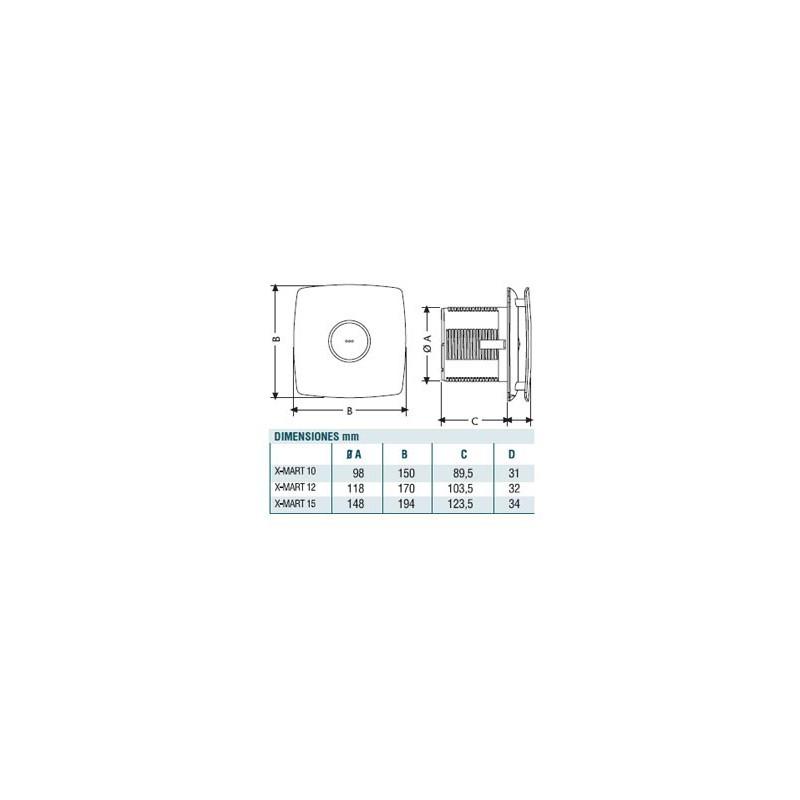 Extractor De Baño Con Temporizador: > EXTRACTOR DE BAÑO CATA INOX X-MART 10/12/15 CON TEMPORIZADOR