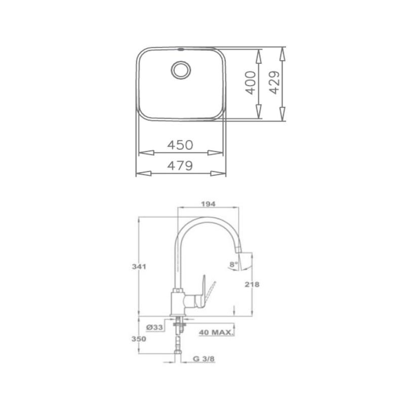 Kit fregadero grifo y accesorios tekaway be 45 40 in995 for Instalar grifo fregadero