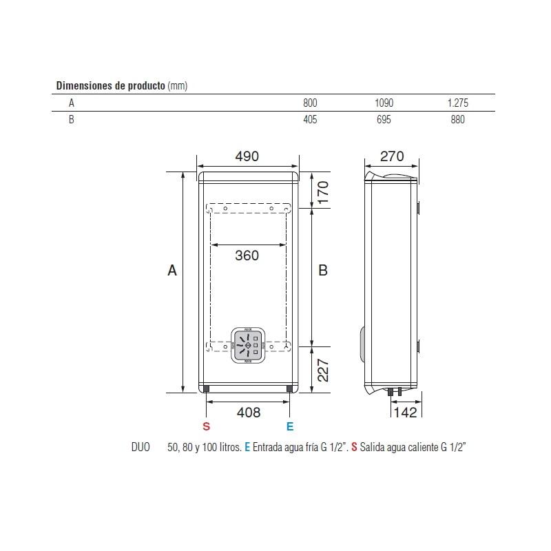 Termo electrico fleck duo 100 eu horizontal vertical - Termo de 100 litros ...