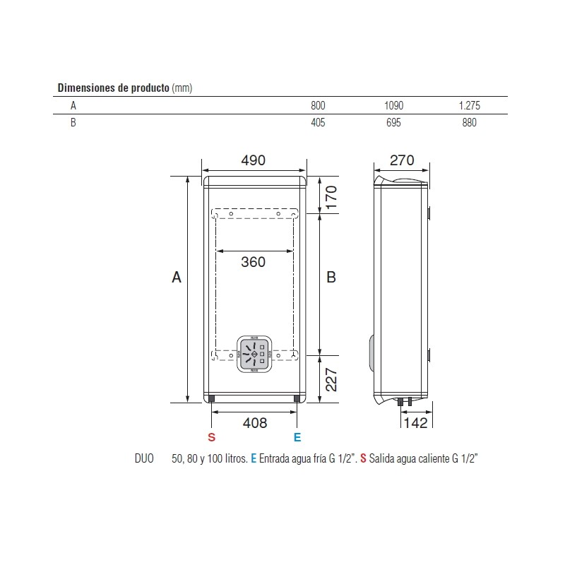 Termo electrico fleck duo 50eu vertical horizontal - Termo electrico instalacion ...