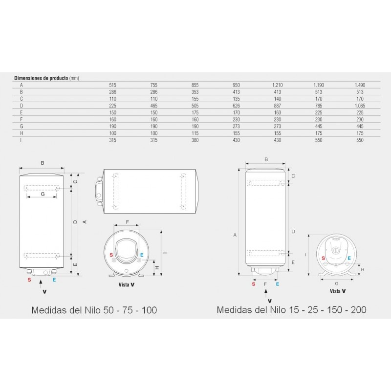Termo electrico fleck nilo 100 eu vertical horizantal - Termo electrico 75 litros ...