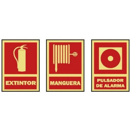 señal contra incendios extintor manguera pulsador alarma