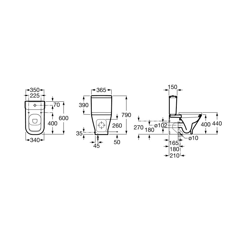 Inodoro roca the gap compact tanque bajo completo for Como instalar un inodoro con salida vertical