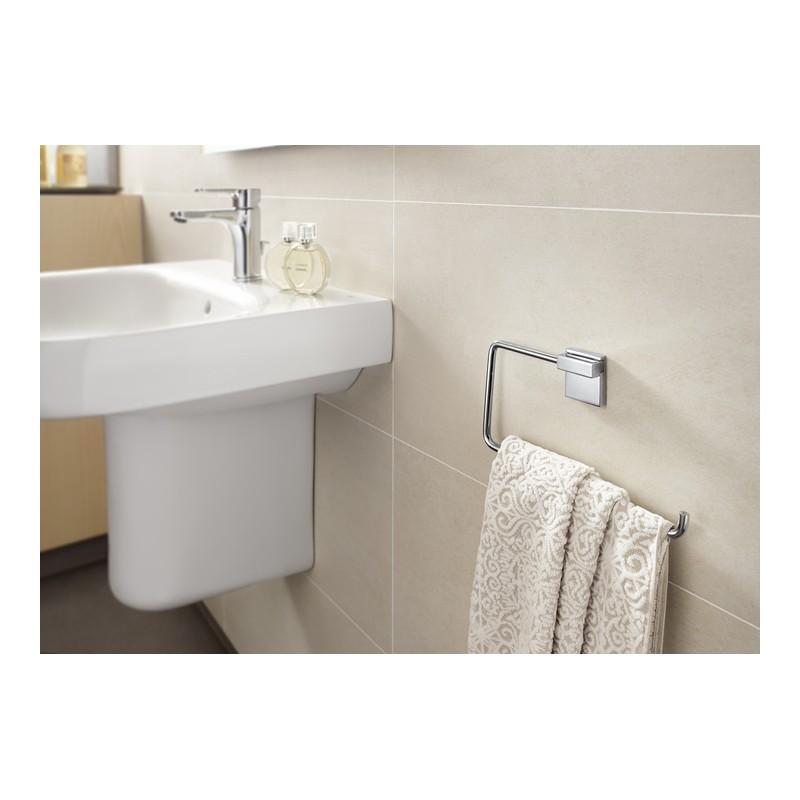 Toallero de lavabo anilla rubik roca con adhesivo y tornillos for Toallero lavabo